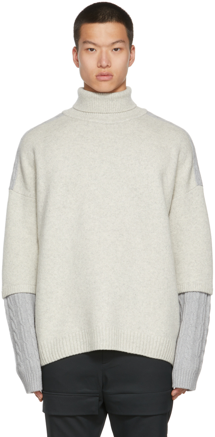 Grey Colorblocked Turtleneck