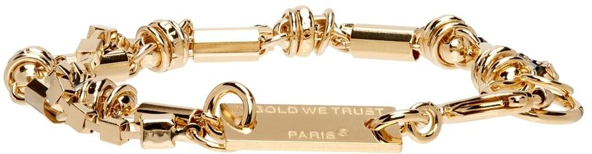 Gold Hippie Chain & Black Rhinestone Bracelet