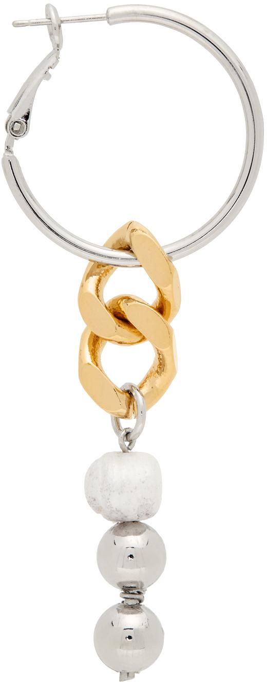 Gold & Silver Cuban Link Single Hoop Earring