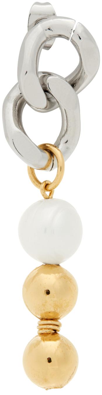 Silver & Gold Cuban Single Link Earring
