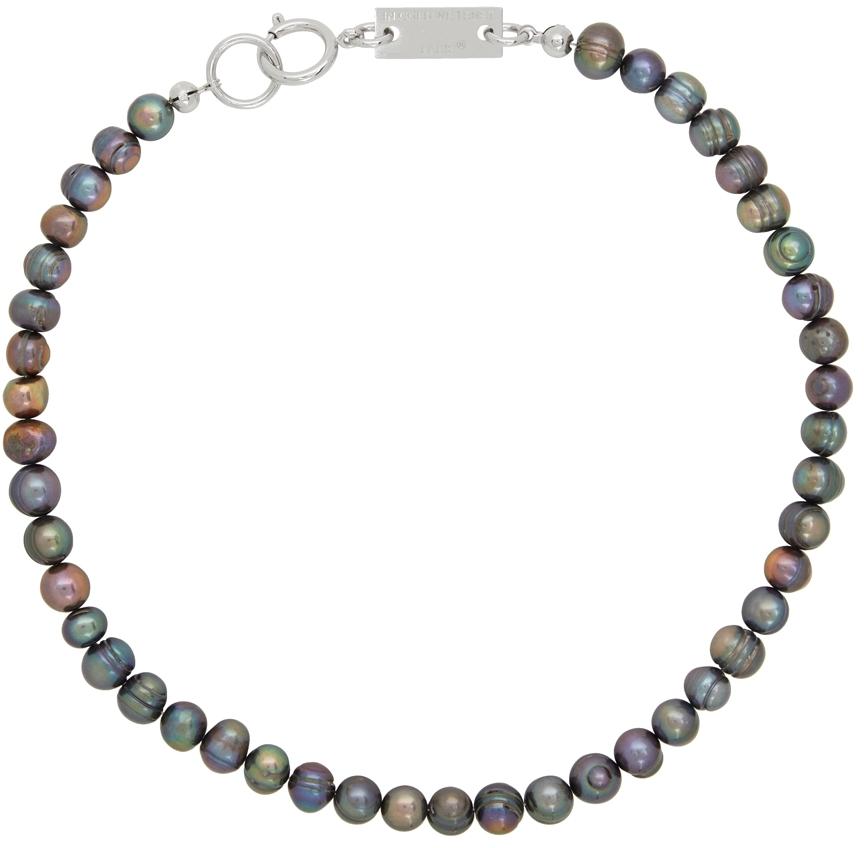 SSENSE Exclusive Silver & Black Pearl Necklace