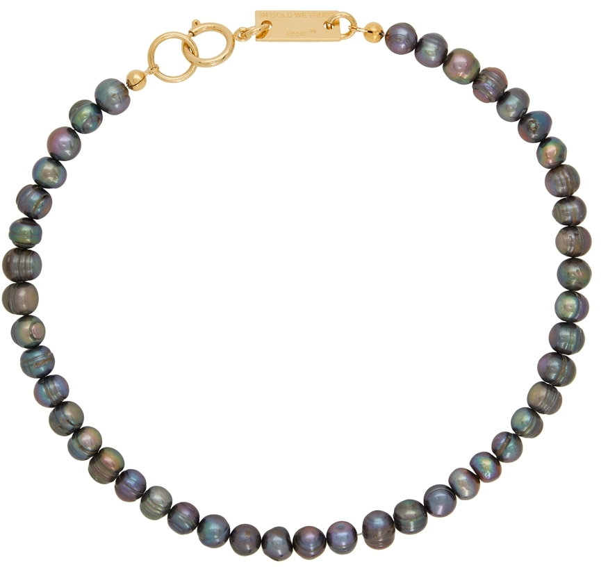 SSENSE Exclusive Gold & Black Pearl Necklace