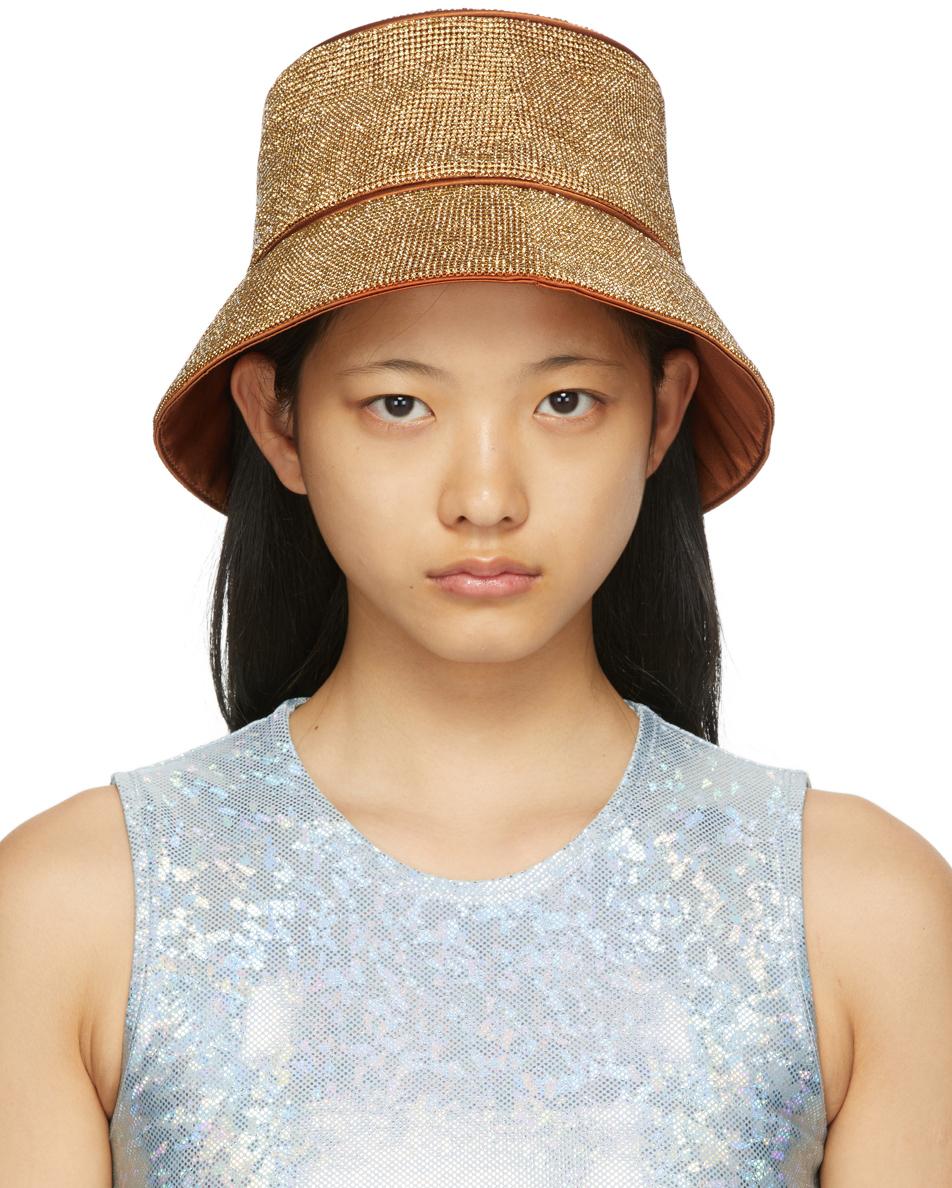 Brown Crystal Mesh Bucket Hat
