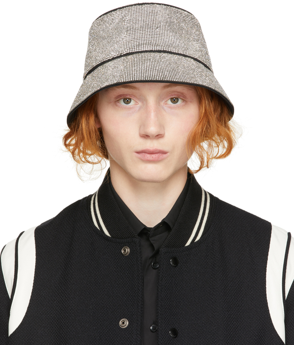 White Crystal Mesh Bucket Hat