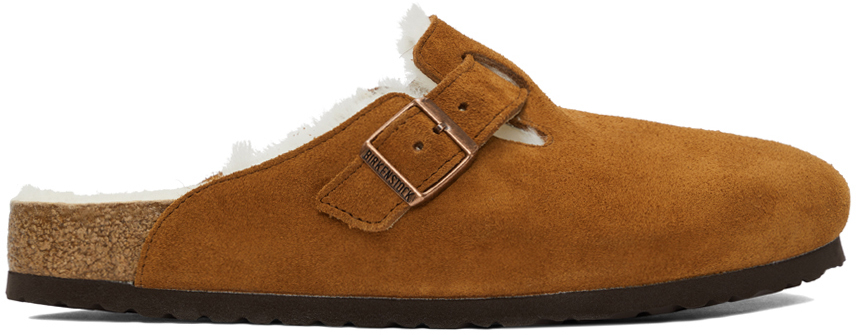 Tan Shearling & Suede Boston Loafers