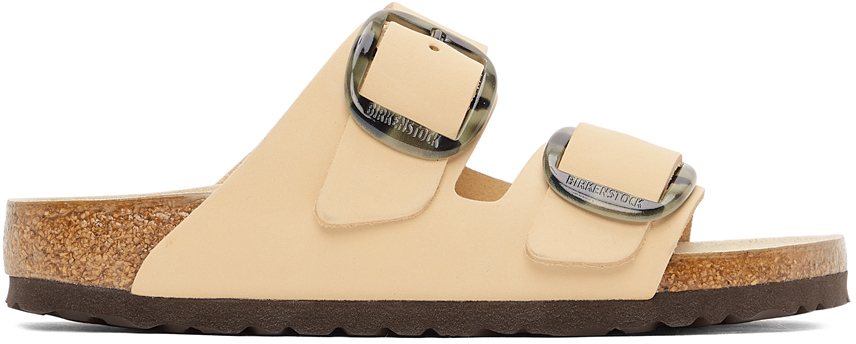 Beige Leather Narrow Big Buckle Arizona Sandals
