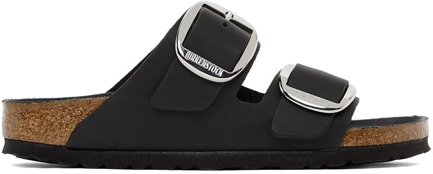 Black Oiled Leather Narrow Big Buckle Arizona Sandals