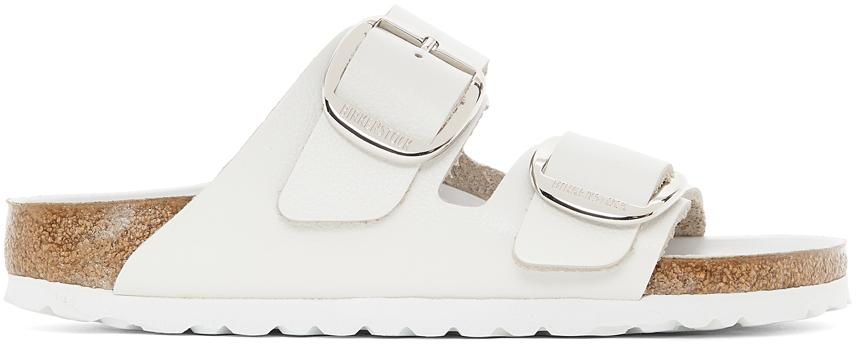 White Leather Narrow Big Buckle Arizona Sandals