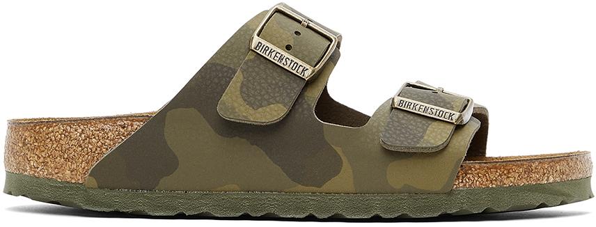 Khaki Birko-Flor Camo Narrow Arizona Sandals
