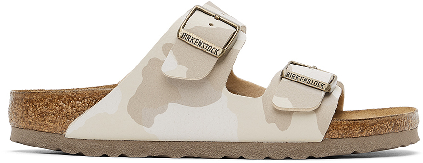 White & Beige Birko-Flor Camo Narrow Arizona Sandals