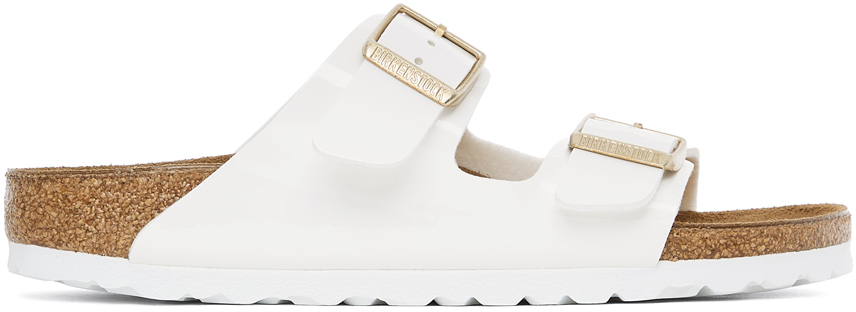 White Patent Birko-Flor Narrow Arizona Sandals