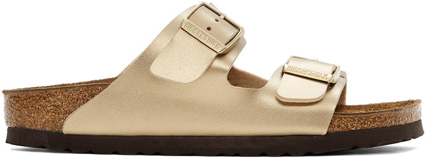 Gold Birko-Flor Narrow Arizona Sandals