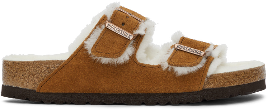 Tan Shearling & Suede Arizona Fur Sandals
