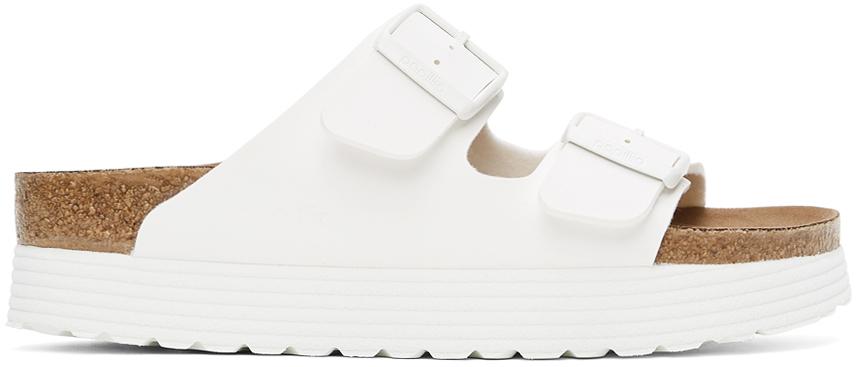 White Papillio Birko-Flor Narrow Arizona Platform Sandals