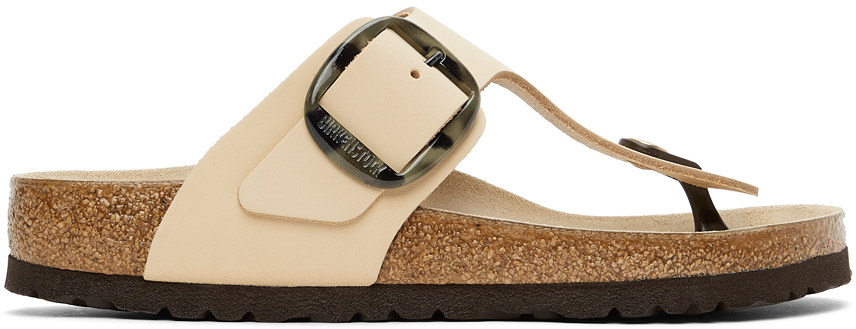 Beige Leather Big Buckle Gizeh Sandals