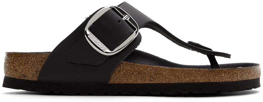 Black Leather Big Buckle Gizeh Sandals