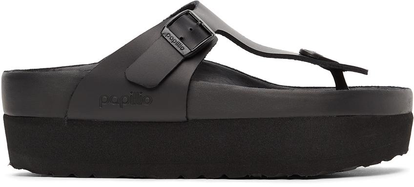 Black Papillio Birko-Flor Gizeh Platform Sandals