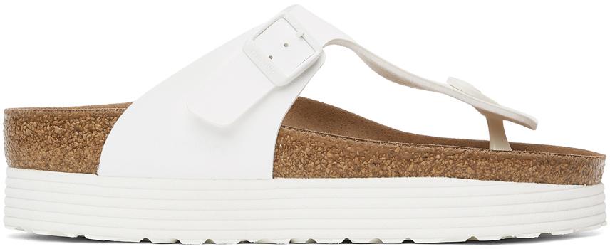 White Papillio Birko-Flor Gizeh Platform Sandals
