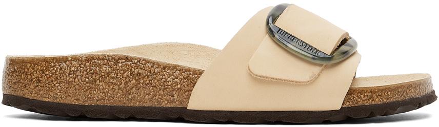 Beige Nubuck Narrow Big Buckle Madrid Sandals