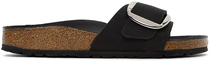 Black Oiled Leather Narrow Big Buckle Madrid Sandals