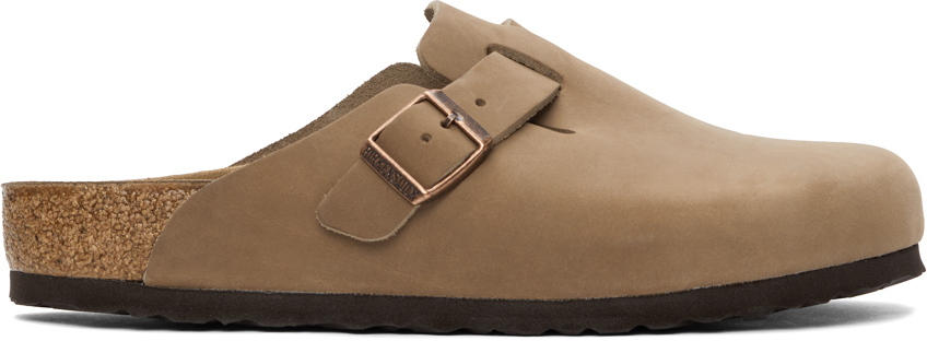 Beige Oiled Leather Boston Loafers