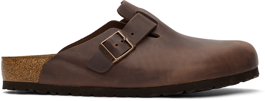 Brown Oiled Leather Boston Loafers