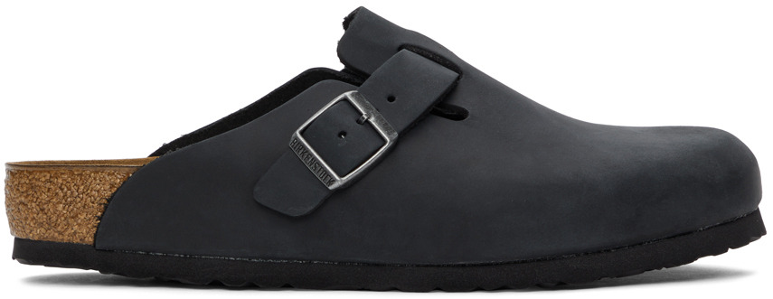 Black Oiled Leather Boston Loafers