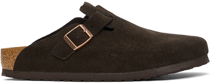 Brown Suede Soft Footbed Boston Loafers