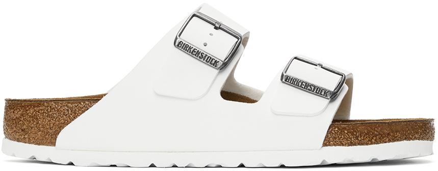 White Birko-Flor Arizona Sandals