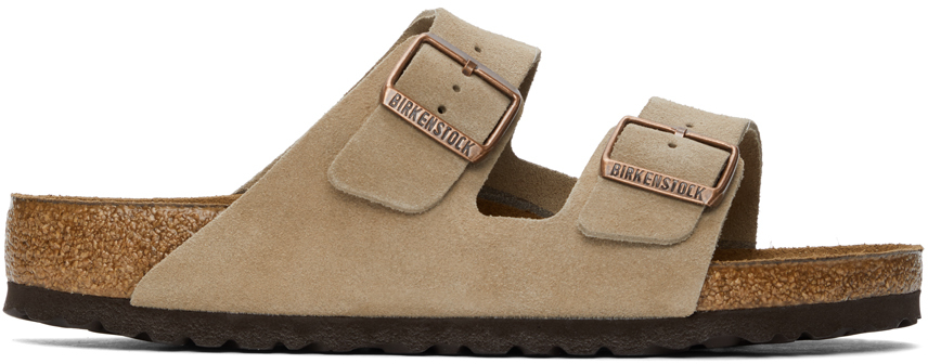 Taupe Suede Soft Footbed Arizona Sandals