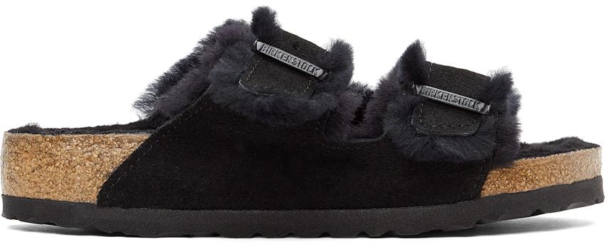 Black Shearling & Suede Arizona Fur Sandals