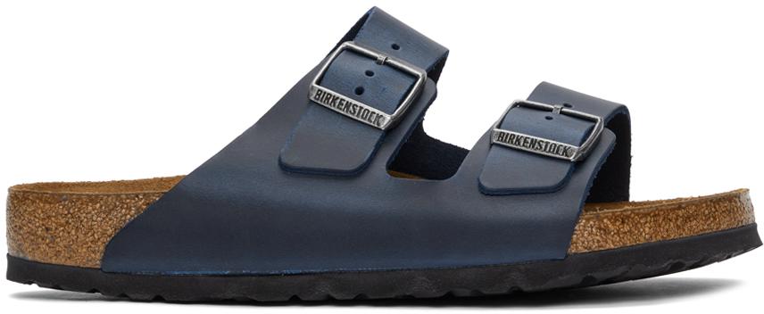 Navy Oiled Leather Arizona Sandals