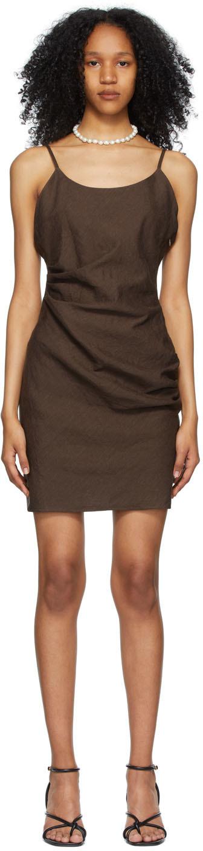 Brown Linen Mini Dress