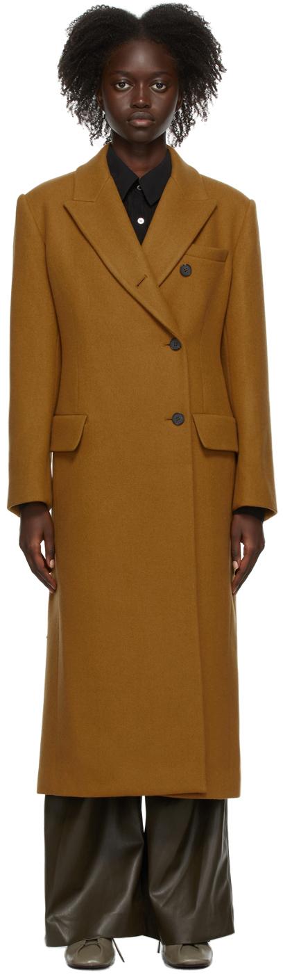 Tan Wool Side Button Coat