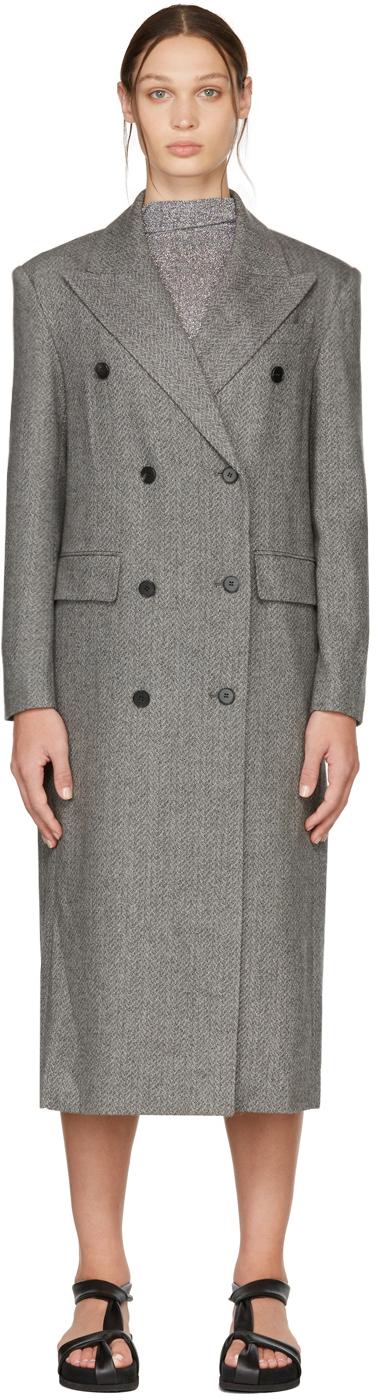 Black & Grey Wool Herringbone Double-Breasted Coat