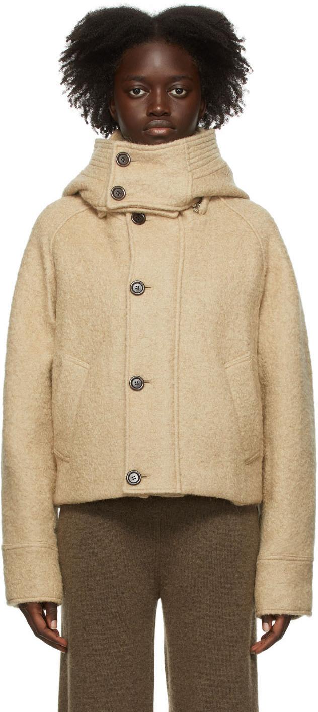 Beige Bouclé Hooded Jacket