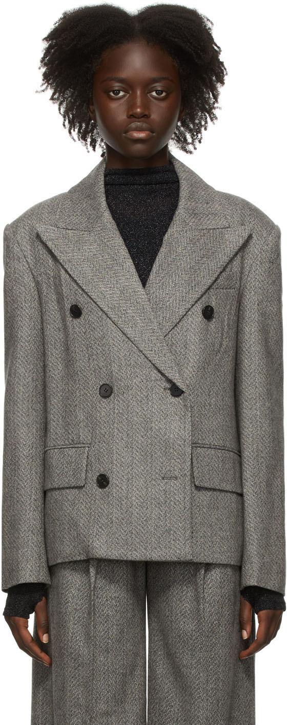 Grey Wool Herringbone Double-Breasted Blazer