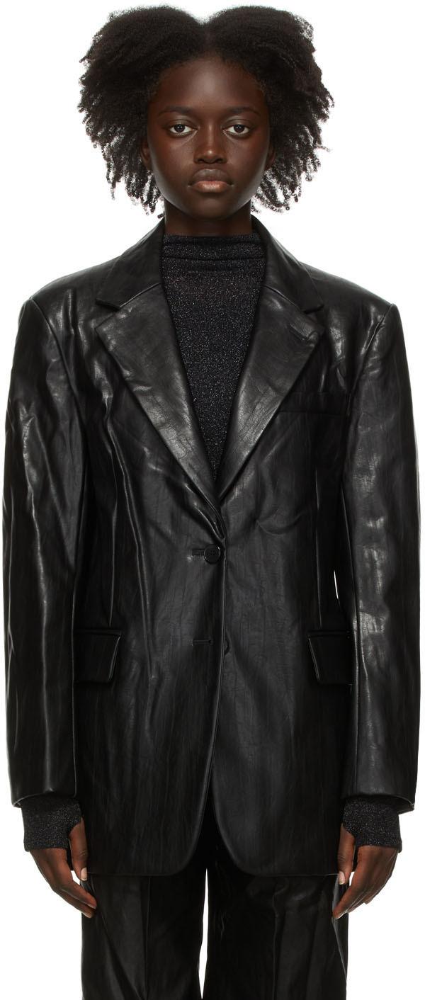 Black Faux-Leather Boy Blazer