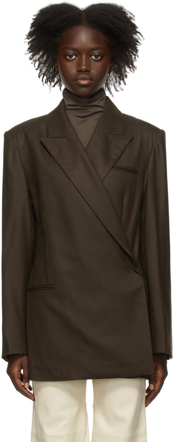 Brown Wool Mia Wrap Blazer