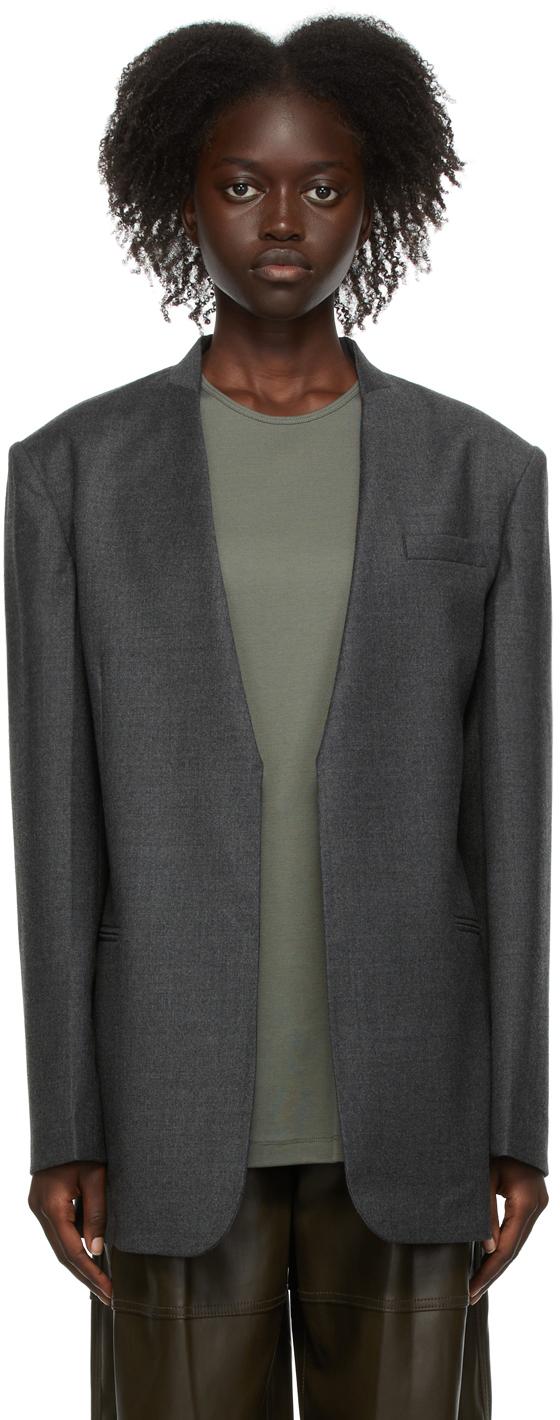 Grey Wool V-Neck Blazer