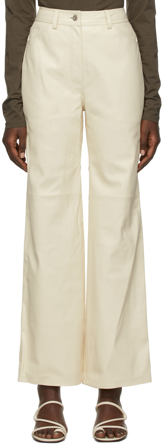 Beige Faux-Leather Stitch Trousers