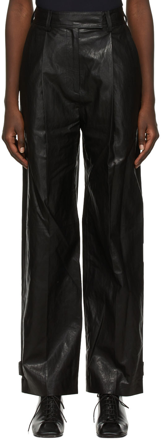 Black Faux-Leather Tuck Trousers