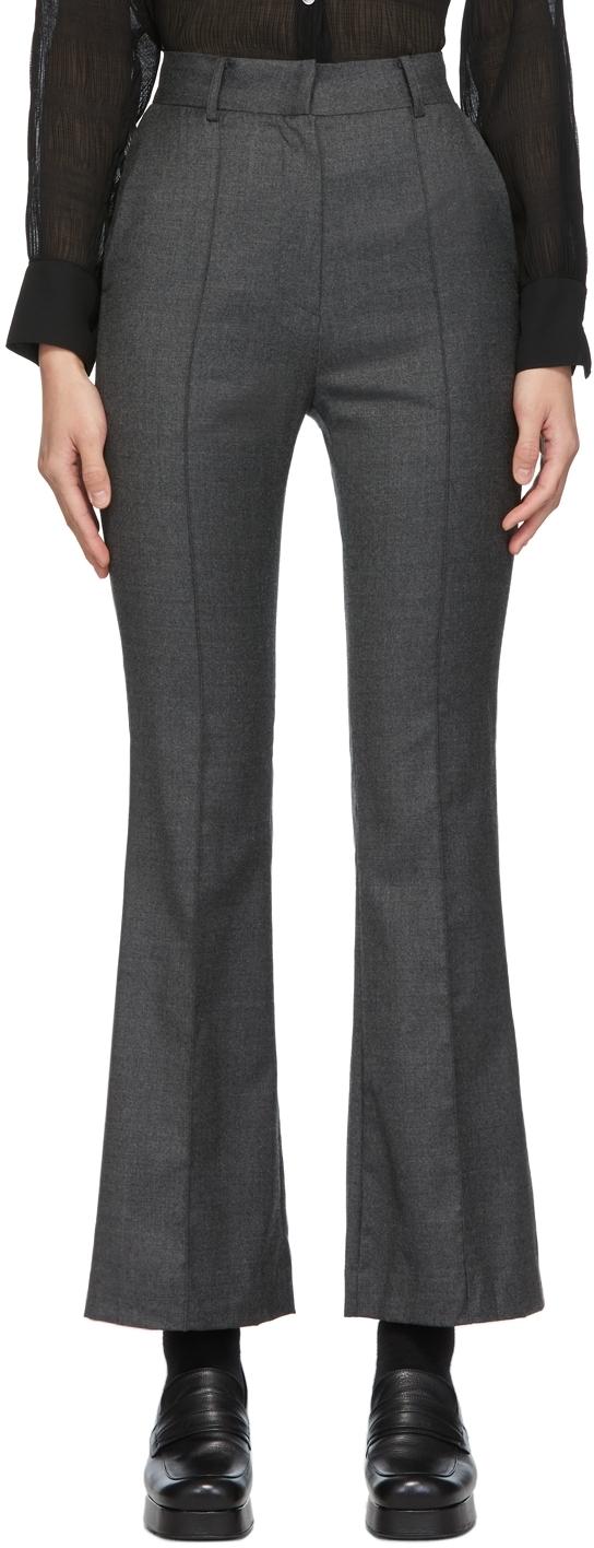 Grey Wool Boot Cut Trousers