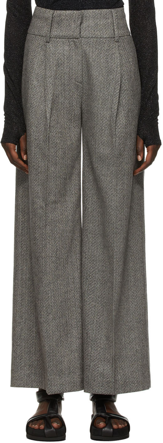 Black & Grey Wool Herringbone Trousers