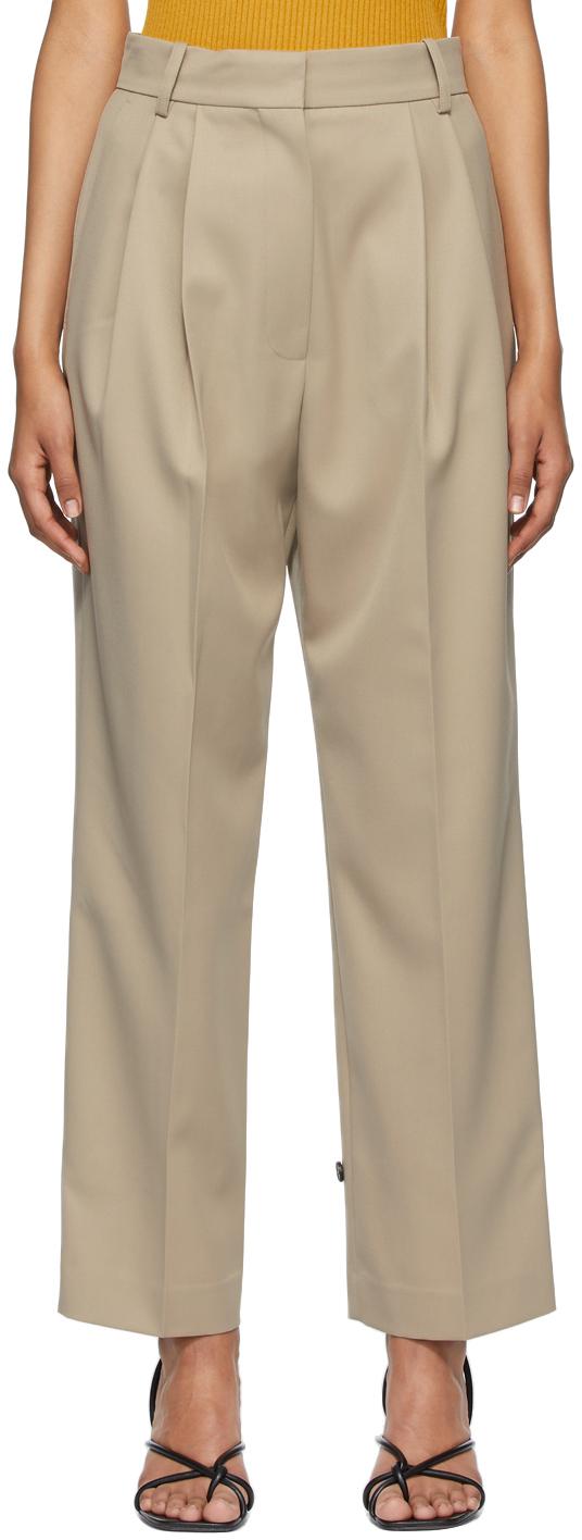 Beige Wool Canvas Boy Trousers