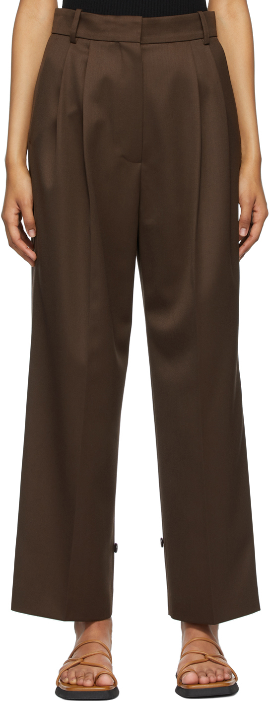 Brown Wool Canvas Boy Trousers
