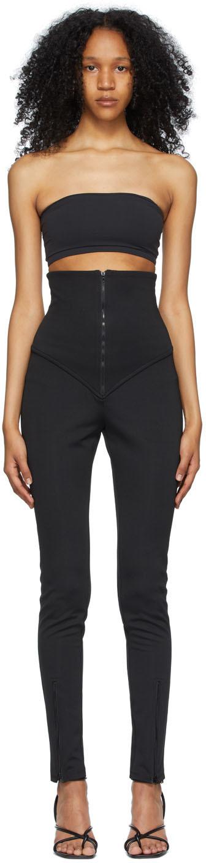 Black High-Rise Zip Trousers