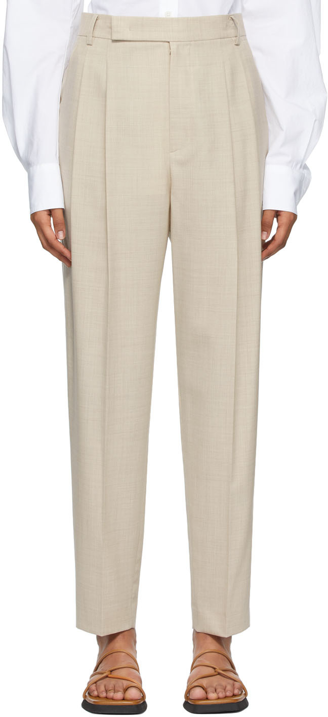 Beige Wool Summer Trousers