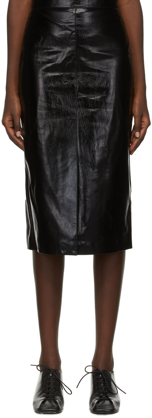Black Faux-Leather Miell Skirt