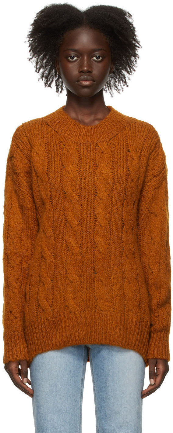 Orange Kid Mohair Cable Knit Sweater